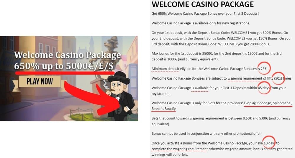 Begränsningar, villkor och restriktioner gällande ett gratis 50kr casino bonus